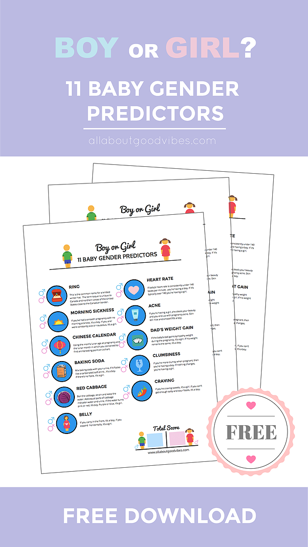 11 Baby Gender Predictors with a Free Printable Download