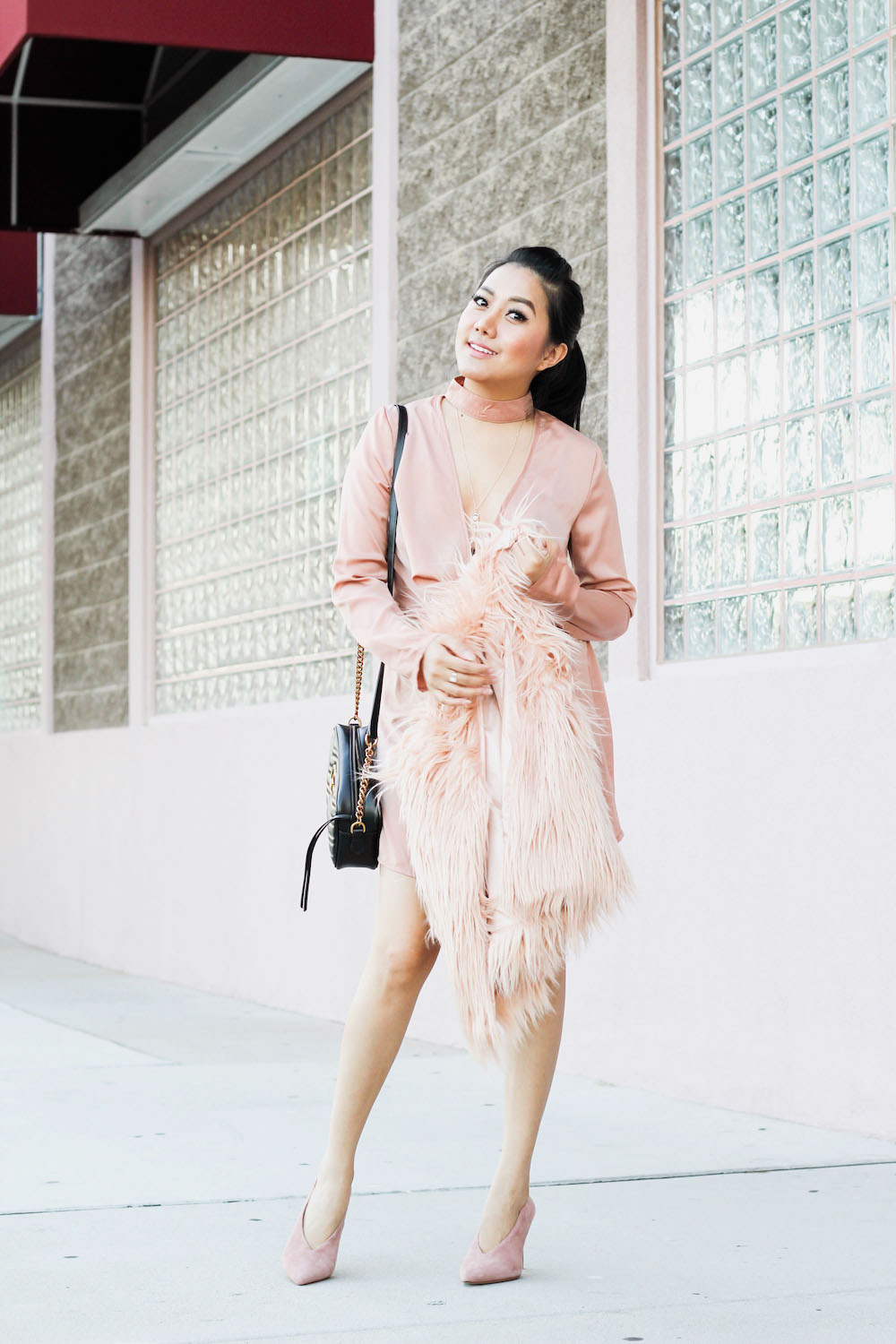 Fur Vest Outfit Idea Fall Autumn Outfit Engagement Ring Date night ideas