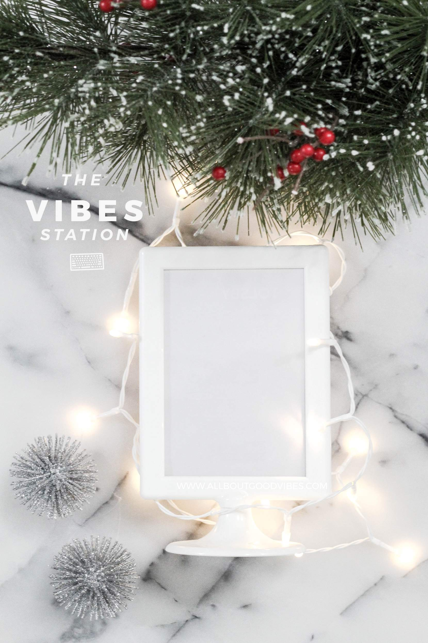 FREE_DOWNLOAD_Christmas Light and photo frame on marble Styled Stock Photo
