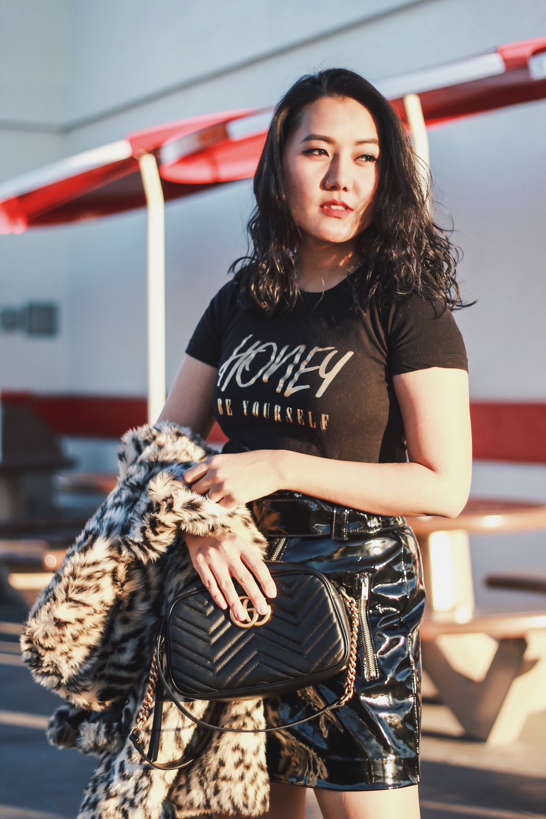 Leopard-Print-Jacket-Patent-Skirt-Winter-Outfit-Honey-Be-Yourself-Black-and-Gold-Graphic-Tee-Allaboutgoodvibes.com