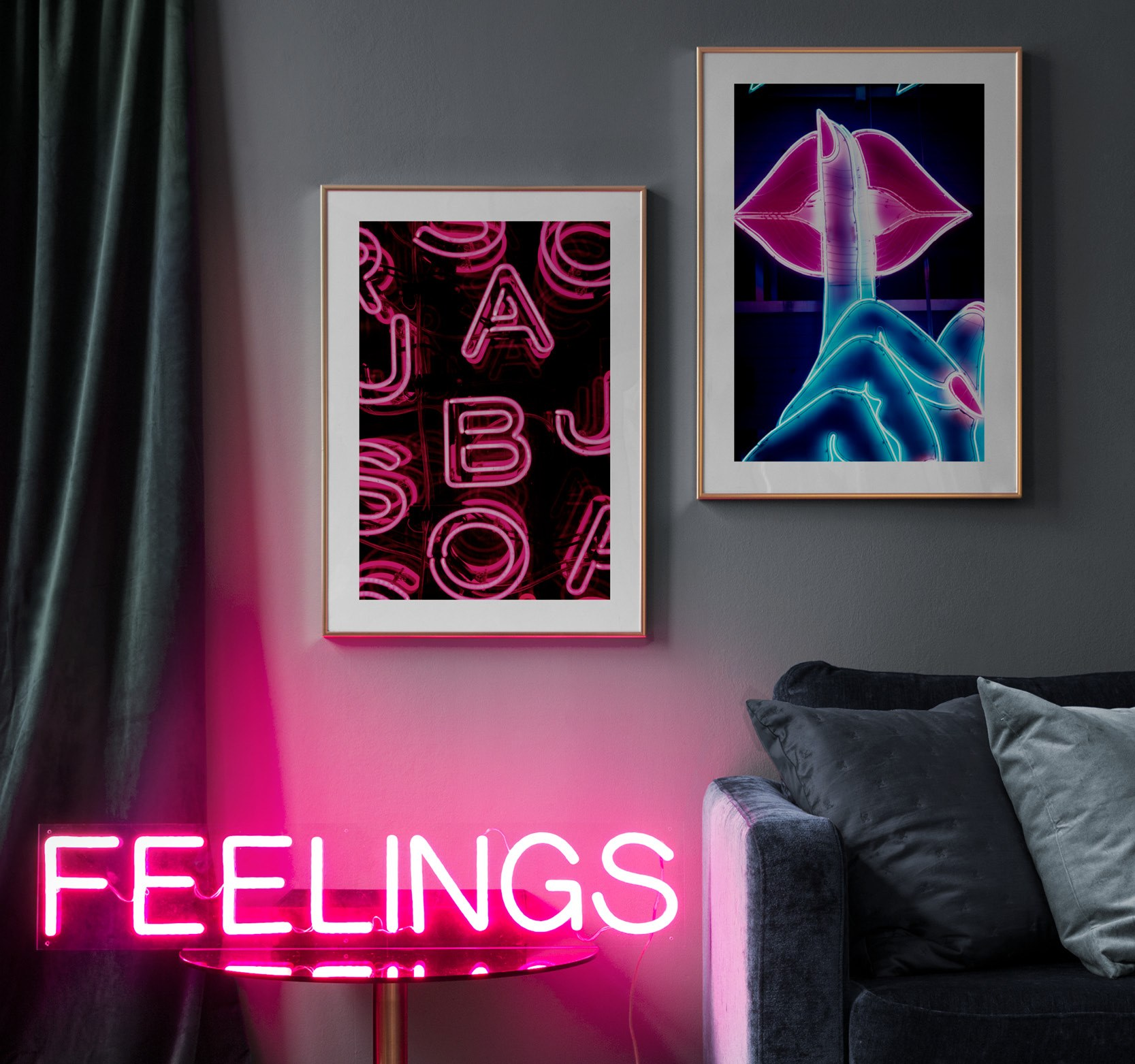 Pink Blue Neon Posters Wall Decor