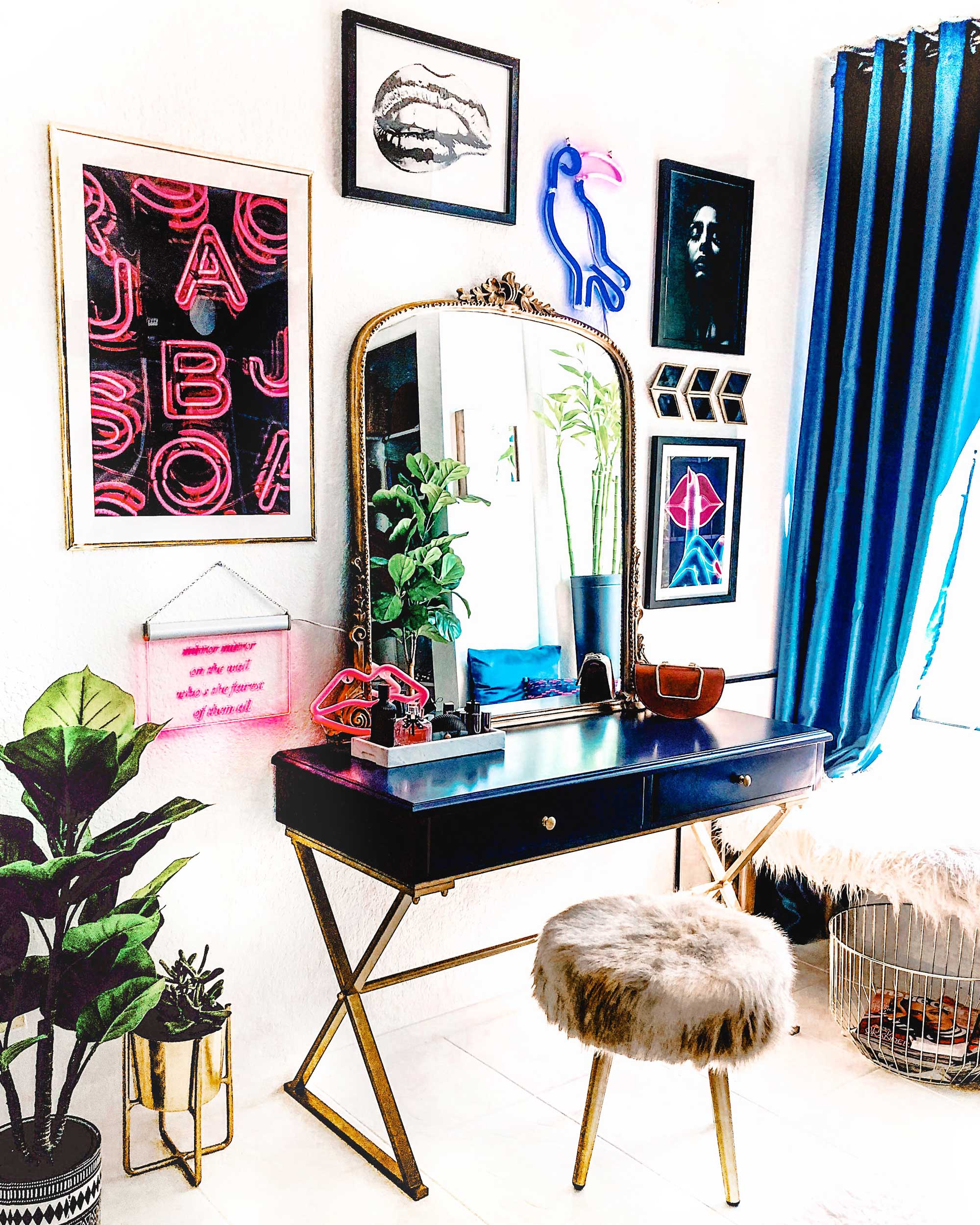 Vanity-Room-Modern Eclectic Vanity with Desenio   Free Phone and Desktop wallpapers download