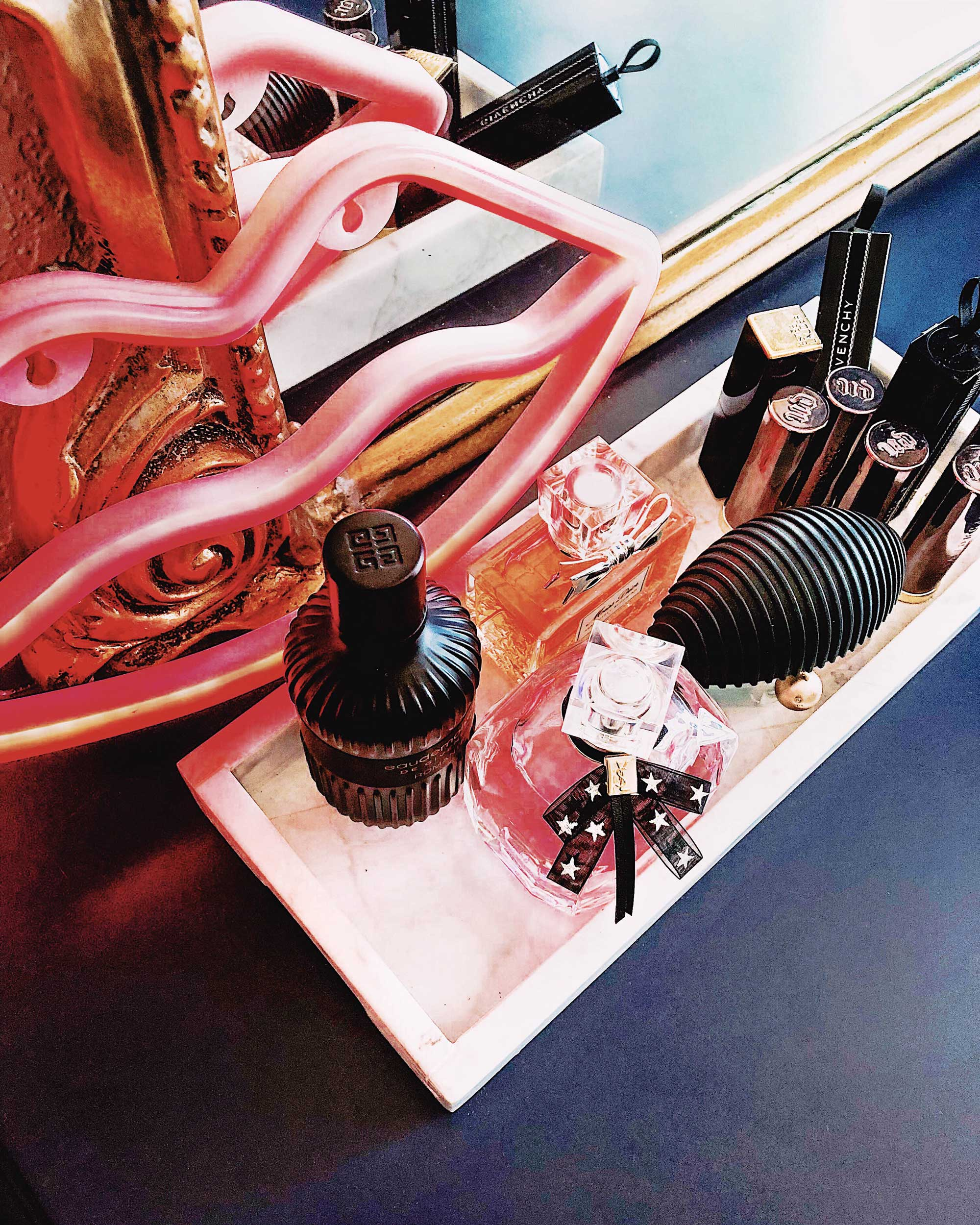 Vanity Room Decor Modern Eclectic Vanity with Desenio   Free Phone and Desktop wallpapers download Pink Lips Neon Light