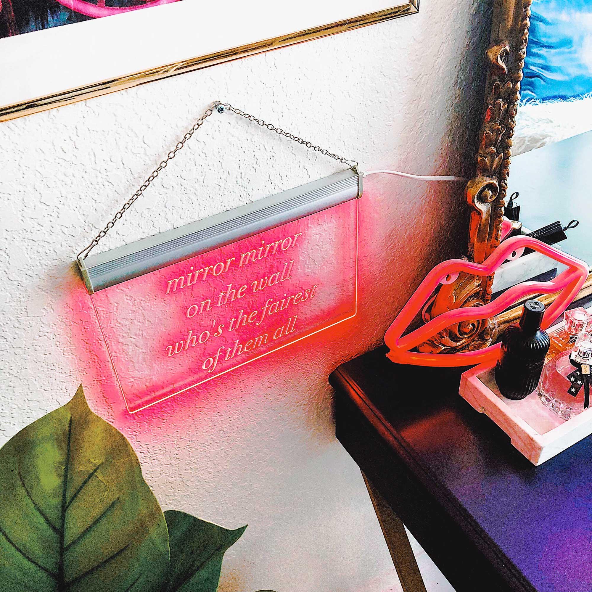 Vanity-room-decor-neon-light-Vanity-room-decor-Modern Eclectic Vanity with Desenio   Free Phone and Desktop wallpapers download