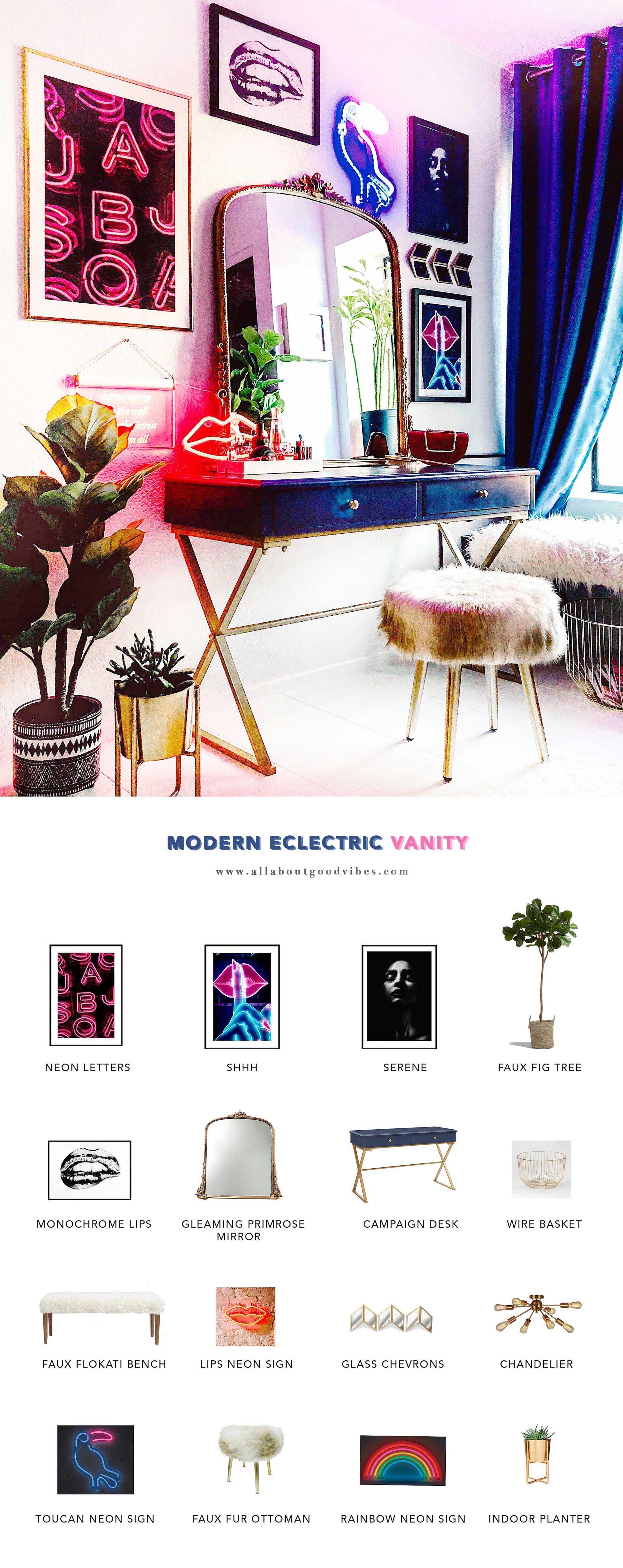makeup-vanity-get the look Modern Eclectic Vanity with Desenio   Free Phone and Desktop wallpapers download