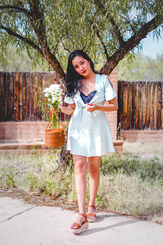 Inexpensive Summer Dresses_Peach summer dress_instagram_@thevibescloset