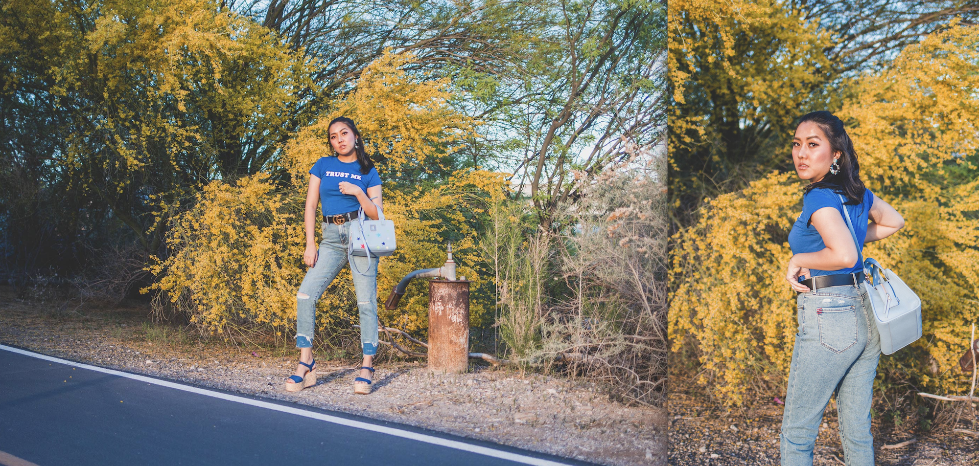 Arizona Fashion blogger Molly Larsen Wearing blue Trust Me Tee with blue denim jeans Dolce Vita Espadrilles carrying Blue star embroidered crossbody bag standing in front of yellow blooming trees