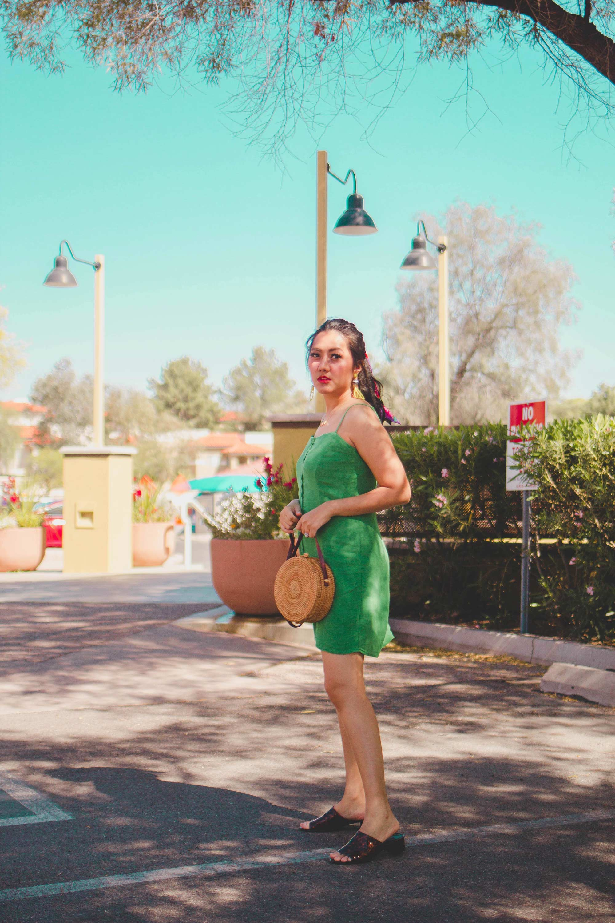 Fashion Style Blogger Molly Larsen form Allaboutgoodvibes.com wearing Inexpensive Summer Dress in Green