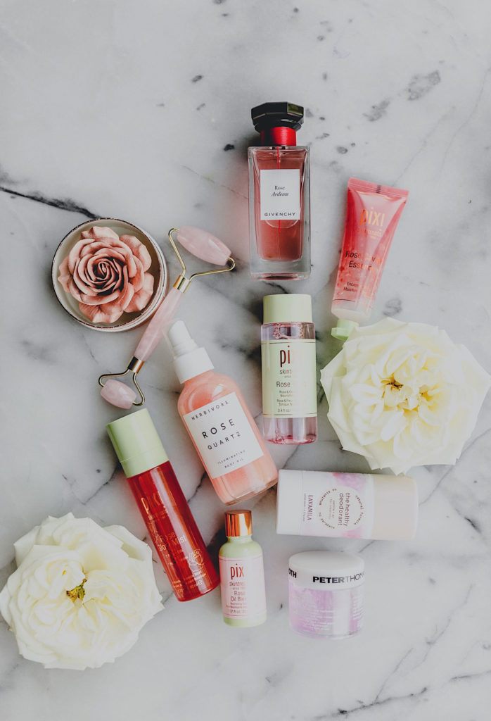Favorite Rose Beauty and skincare products allaboutgoodvibes.com Molly Larsen Instagram @thevibescloset beauty and lifestyle blogger
